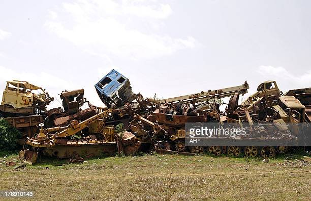 Rusted out Sovietera tanks and trunks sit abandoned in Asmara's 'tank graveyard' on July 20 2013 In some countries wanting to broadcast the...