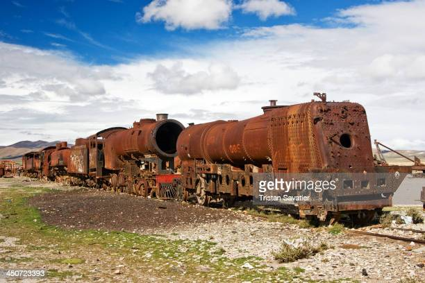 Rusted steam locomotives in the interesting train cemetery is located about 30 min walk south of the Uyuni train station. The junkyard has dozens of...