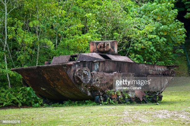 Rusted WWII tank relic