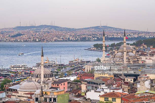 Rustem Pasha Mosque and New Mosque (Yeni Cami) with Bosphorus Strait behind, Istanbul, Turkey