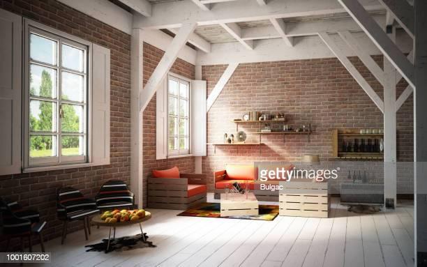 interior de casa rústica e acolhedora - imagem tonalizada - fotografias e filmes do acervo