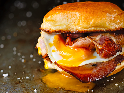 rustic bacon egg breakfast sandwich bun 1038177410