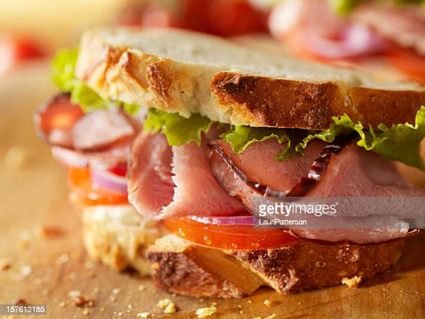 rustic black forest ham sandwich - delicatessen stock pictures, royalty-free photos & images