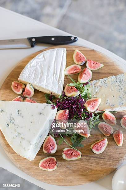 Rustic cheese board with figs