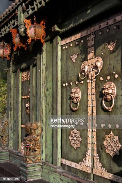 Rustic Chinese door entrance to Buddhist Temple