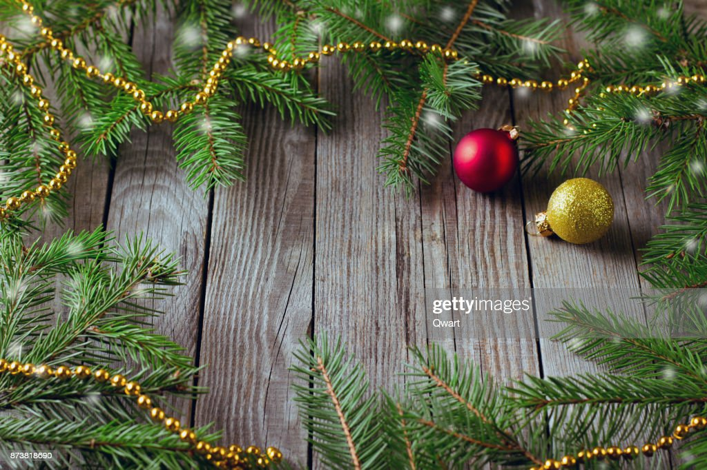 rustic christmas background with fir tree on wooden backgroundtop view with space for text - Rustic Christmas Background