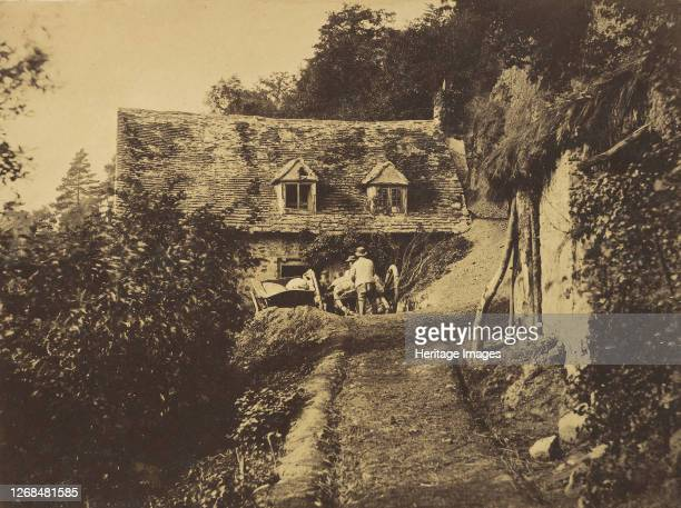 Rustic Cottage with Figures and Carts circa 1855 Artist Unknown