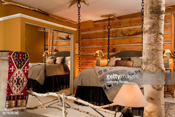 Rustic Country Style Bedroom Lodge at Moosehead Lake Greenvile Maine