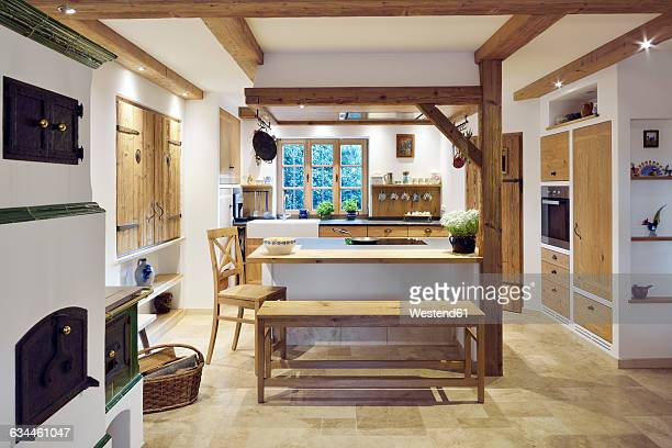 rustic country style home with kitchen island - rustic stock pictures, royalty-free photos & images