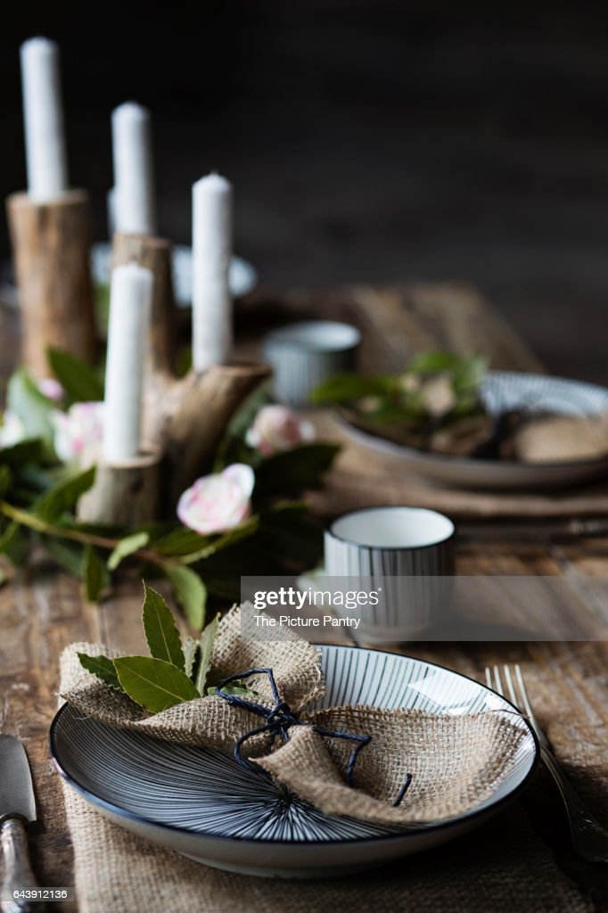 A rustic country table setting  Stock Photo & A Rustic Country Table Setting Stock Photo | Getty Images