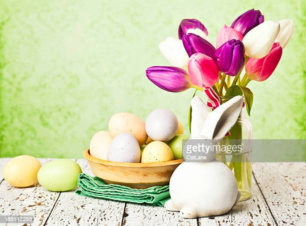 rustic easter still life - easter flowers stock pictures, royalty-free photos & images
