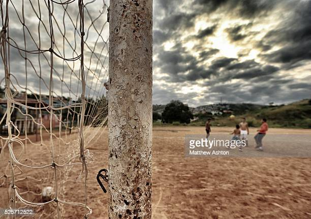 Rustic football goal post on a dust football pitch situated in between Rua Coronel Manuel Assuncao, Belo Horizonte and highway Rodovia Prefeito...