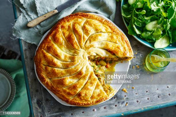 rustic freeform moroccan chicken pie - savory food stock pictures, royalty-free photos & images
