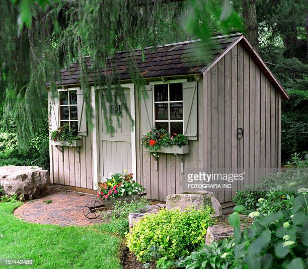 rustic garden shed - shed stock pictures, royalty-free photos & images
