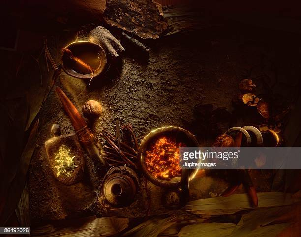 Rustic herbal alchemy still life