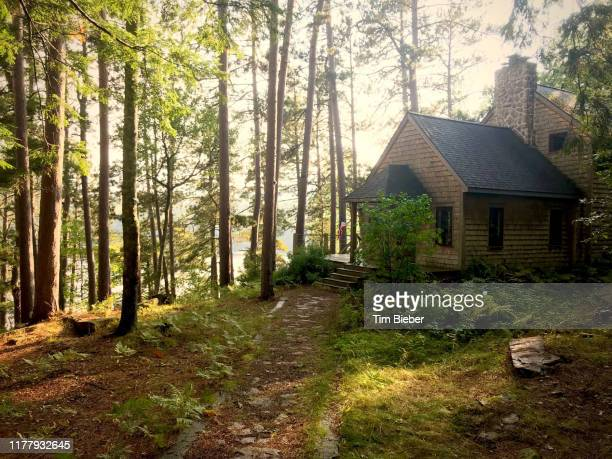 rustic house in the woods above a lake - upper peninsula stock pictures, royalty-free photos & images
