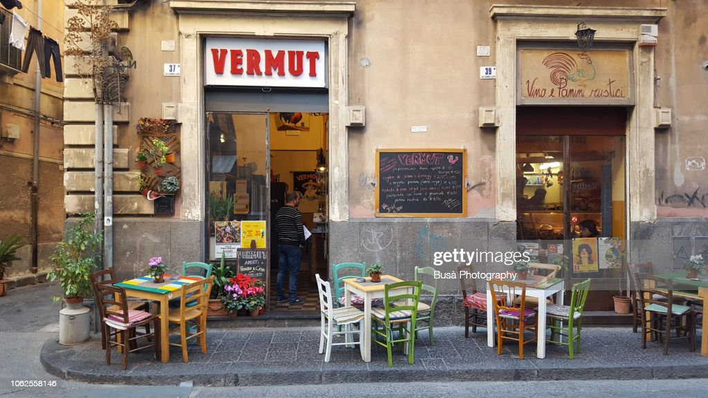 Rustic Italian Restaurant With Sidewalk Tables And Chairs In The Historic Center Of Catania Sicily Italy High Res Stock Photo Getty Images