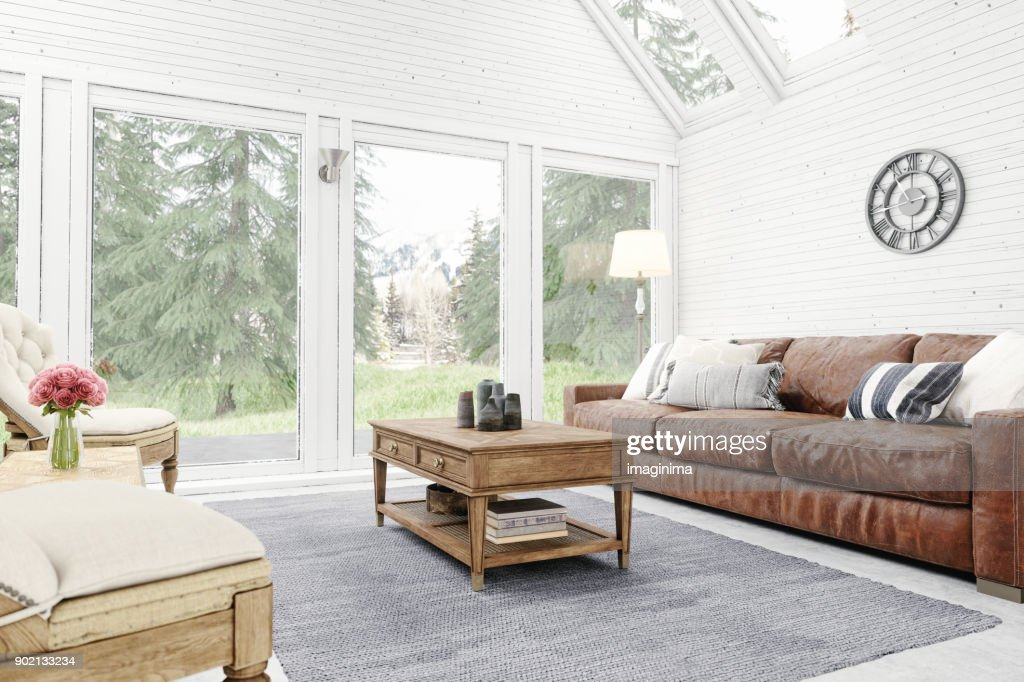 Rustic Living Room Interior : Stock Photo