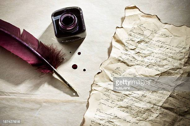 rustic - quill pen stock photos and pictures