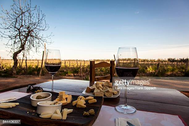 Rustic snack and red wine outdoors, Mendoza, Argentina, South America