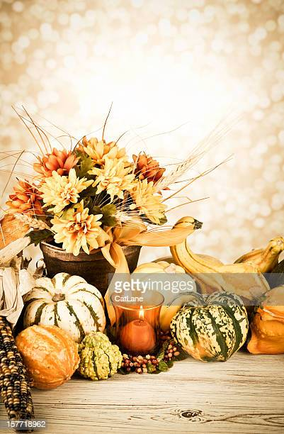 Rustic Thanksgiving Arrangement with Candle