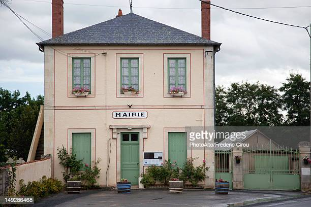 rustic town hall building, france - rathaus stock-fotos und bilder