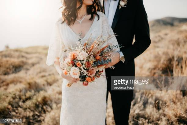 rustic wedding bouquet - wedding stock pictures, royalty-free photos & images
