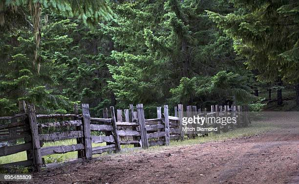 rustic wooden fence - eugene oregon stock photos and pictures