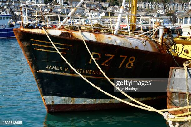 Rusting fishing trawlers in port on March 7, 2021 in Newlyn, England. While Prime Minister Boris Johnson claimed the Brexit trade deal will let the...