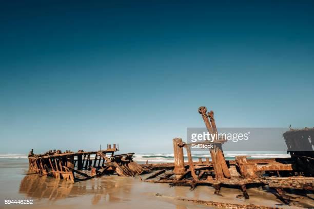 Rusting Maheno Shipwreck on Fraser Island