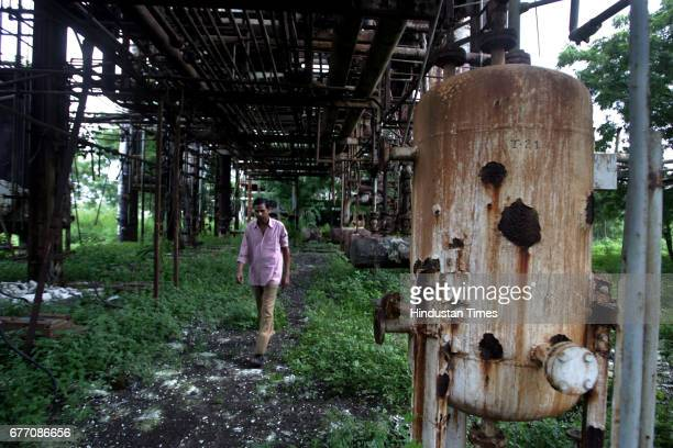 Rusting tanks inside the now derelict Union Carbide factory compound These tanks used to store methyl isocyanide the toxic chemical that leaked on...