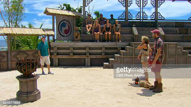 Rustle Feathers Jeff Probst addresses Tina Wesson Laura Morett and Caleb Bankston during the twelfth episode of SURVIVOR BLOOD vs WATER Wednesday Dec...