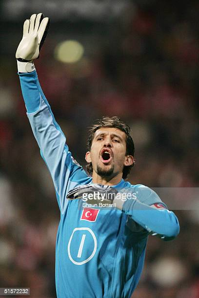 Rustu Recber of Turkey in action during the 2006 World Cup Qualifier Group 2 match between Denmark and Turkey at the Parken Stadium on October 13...