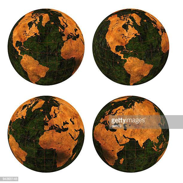 rusty 3d world ( include clipping path ) - vintage world map stock photos and pictures