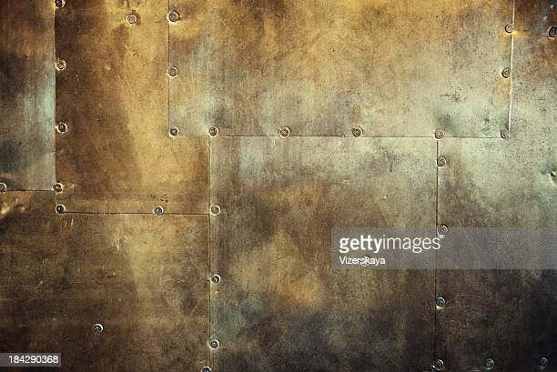 rusty and damaged metal background - metallic stock photos and pictures