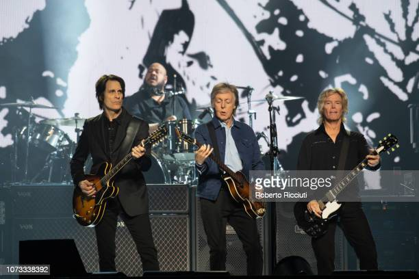 Rusty Anderson Abe Laboriel Jr Paul McCartney and Brian Ray perform on stage at The SSE Hydro on December 14 2018 in Glasgow Scotland