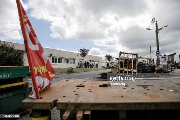A rusty barricade stands outside the GMS automobile parts factory in La Souterraine La Creuse region France on Monday July 24 2017 Even as President...