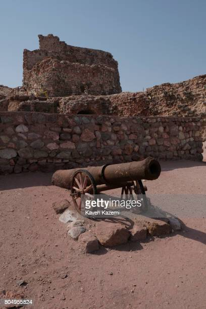 A rusty canon seen in the ruins of the Portuguese Castle on May 2 2017 in Hormuz Island Iran The Fort of Our Lady of the Conception also known as the...