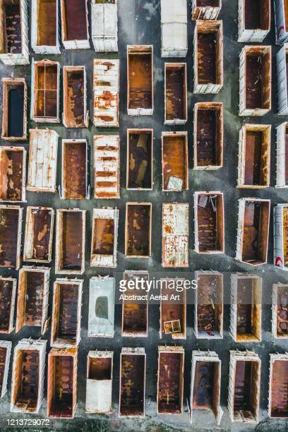 rusty crates seen from above, le mans, france - sarthe stock pictures, royalty-free photos & images