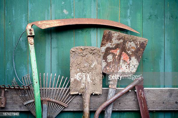 rusty garden tools - scythe stock photos and pictures