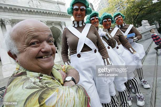 Rusty Goffe who starred in the 1971 version of the film and the Oompa Loompas hand out Golden Tickets for the 40th Anniversary of Willy Wonka The...