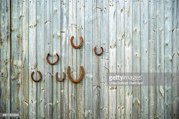 Rusty horseshoes on wooden wall