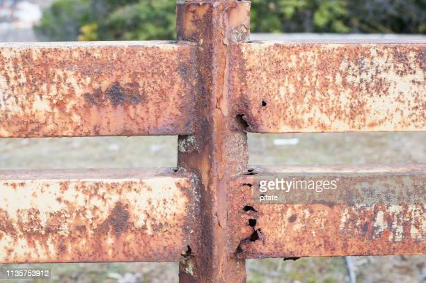 rusty iron railing close up
