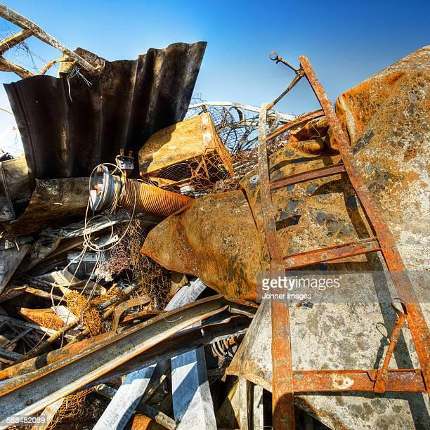 Rusty metal on scrapyard