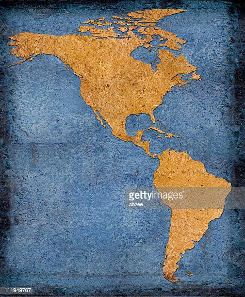 Rusty North and South America on blue background