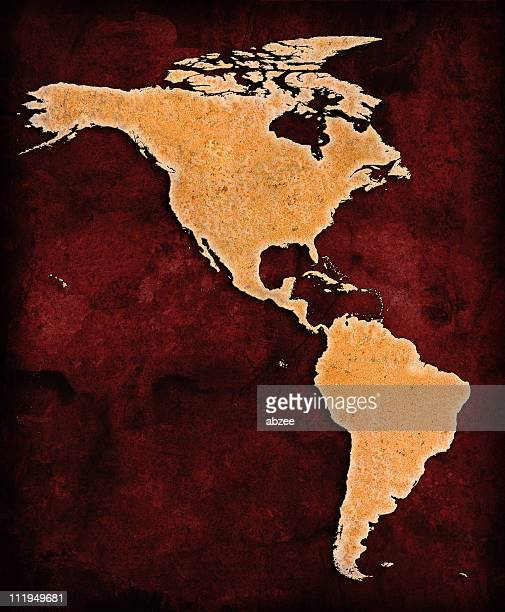 Rusty North and South America on red grunge background