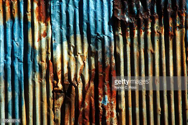 Rusty Painted Corrugated Metal, grunge pattern, irregular background