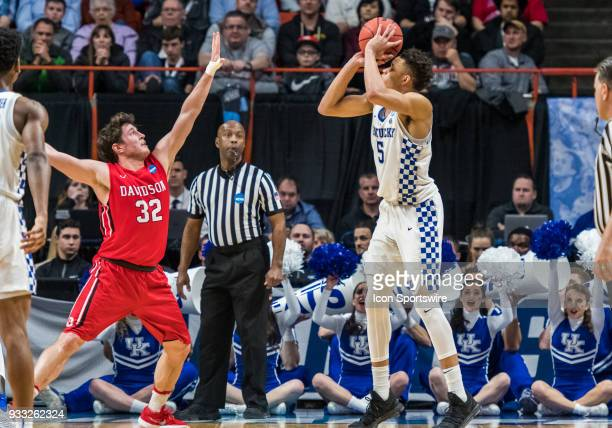Rusty Reigel of the Davidson Wildcats goes up for a block against the shot by F Kevin Knox of the Kentucky Wildcats during the NCAA Division I Men's...