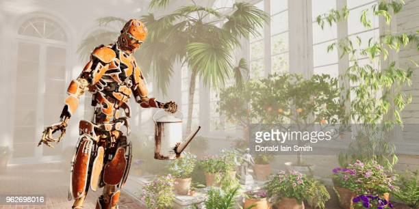Rusty robot with watering can looking after plants in conservatory