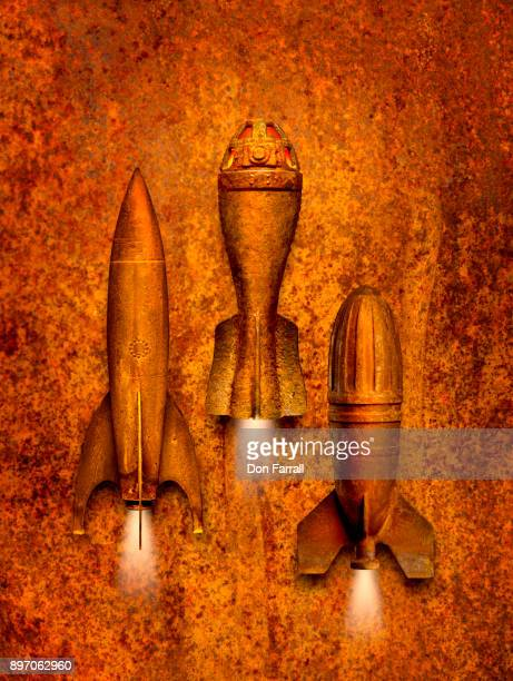 rusty rockets - don farrall stock pictures, royalty-free photos & images